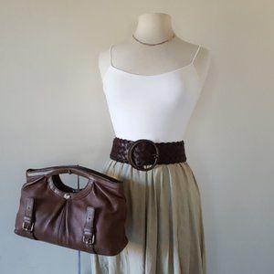 Leonello Borghi Leather Tote Clutch Bag